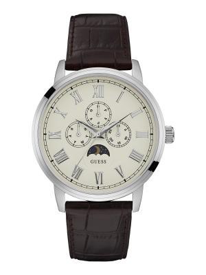 Часы GUESS. Цвет: серебристый, белый, коричневый