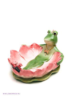 Конфетница Лягушка Pavone. Цвет: зеленый (осн.), розовый (осн.)
