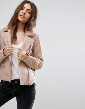 ASOS Розовая байкерская куртка из мягкой кожи. Цвет: розовый