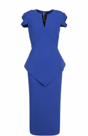 Платье-футляр с V-образным вырезом и коротким рукавом Roland Mouret. Цвет: синий