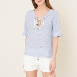 Блузка в полоску из льна HARTFORD. Цвет: белый/ синий