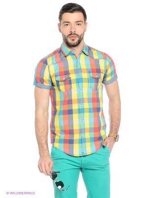 Рубашка Oodji. Цвет: зеленый, оранжевый, желтый, красный, синий