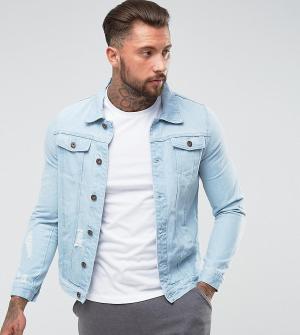 Liquor N Poker Голубая джинсовая куртка. Цвет: синий