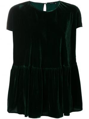 Бархатная футболка клеш Aspesi. Цвет: зелёный