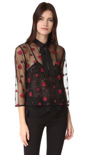 Блуза с прозрачной отделкой и цветочным рисунком The Kooples. Цвет: голубой