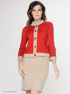 Жакет T&M. Цвет: красный, бежевый
