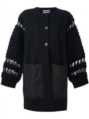 Пальто с вязаными рукавами Hache. Цвет: синий