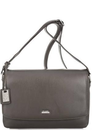 Кожаная сумка через плечо с карманами Picard. Цвет: серый