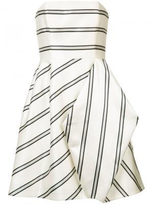 Драпированное платье в полоску Halston Heritage. Цвет: белый