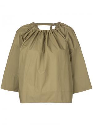 Блузка с воротником со сборкой Astraet. Цвет: зелёный