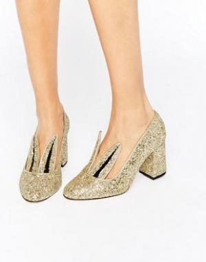 Minna Parikka Золотистые блестящие туфли на каблуке с отделкой ушки зайки Pari. Цвет: золотой