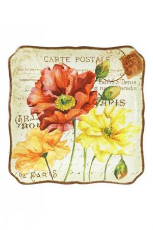 Блюдо квадратное 37 см Certified International. Цвет: бежевый, розовый, красный