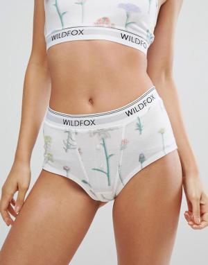 Wildfox Трусики-шорты с цветочным принтом. Цвет: белый