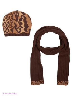 Шапка; шарф MARIELA. Цвет: коричневый