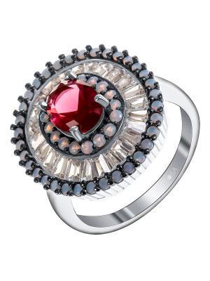 Кольцо Teosa. Цвет: серебристый, малиновый