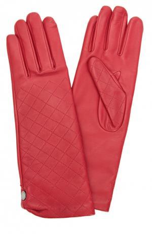 Кожаные перчатки с прострочкой Agnelle. Цвет: красный