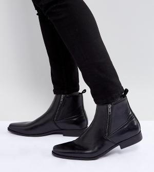 ASOS Черные ботинки челси из искусственной кожи для широкой стопы. Цвет: черный