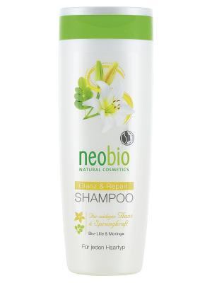 Шампунь для восстановления и блеска волос с био-лилией морингой Neobio. Цвет: светло-желтый