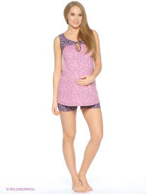Пижама для беременных и кормящих (майка+шорты) Hunny Mammy. Цвет: розовый