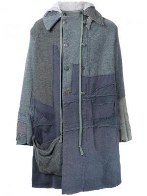 Лоскутное пальто с капюшоном Greg Lauren. Цвет: серый