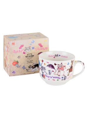 Чашка для супа Gift'n'Home. Цвет: голубой, бежевый, белый, коричневый, розовый, серый