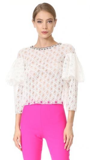 Оборчатая блуза Monique Lhuillier. Цвет: белый шелк