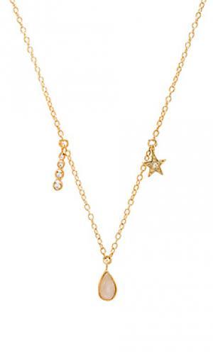 Ожерелье с подвесками moonstone teardrop Jacquie Aiche. Цвет: металлический золотой