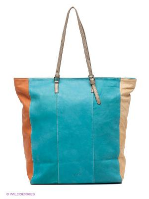 Сумка Abbacino. Цвет: голубой, бежевый, оранжевый