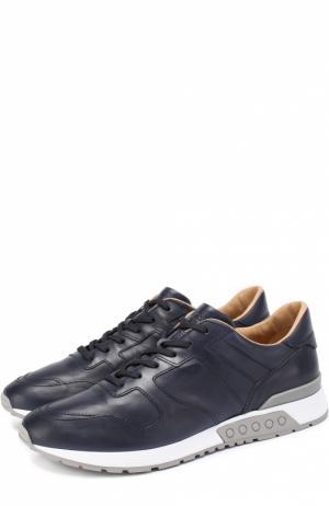 Кожаные кроссовки на шнуровке Tod's. Цвет: темно-синий