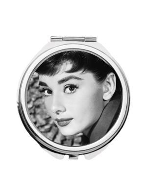 Зеркальце карманное Юная Одри Chocopony. Цвет: черный, серый, темно-серый