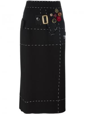 Юбка-карандаш с декоративной строчкой Dolce & Gabbana. Цвет: чёрный