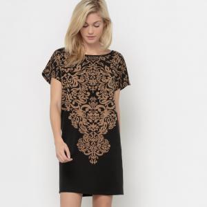 Платье прямое с рисунком MOLLY BRACKEN. Цвет: черный/ карамельный