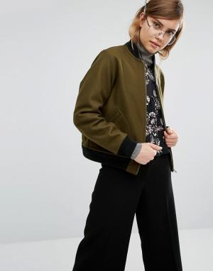 Gloverall Шерстяная куртка‑пилот. Цвет: зеленый