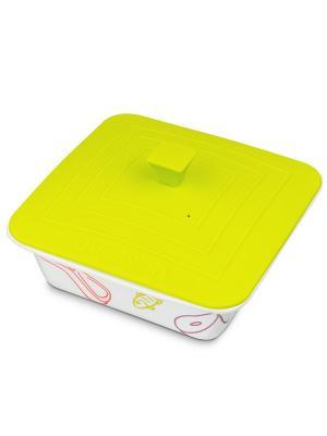 Форма для приготовления керамическая квадратная с силиконовой крышкой OURSSON. Цвет: зеленый