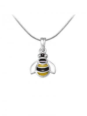 Детская подвеска с эмалью Пчелка KU&KU. Цвет: черный, желтый, серебристый