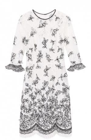 Кружевное мини-платье с укороченным рукавом и контрастной отделкой Oscar de la Renta. Цвет: бежевый