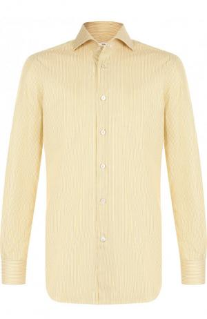 Хлопковая рубашка с воротником кент Kiton. Цвет: желтый
