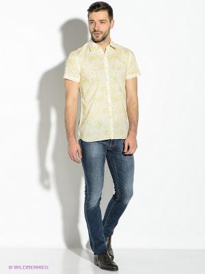 Рубашка GUESS. Цвет: оливковый, белый