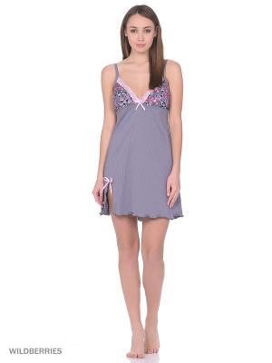 Комплект женский(халат,сорочка) MARSOFINA. Цвет: розовый, серый