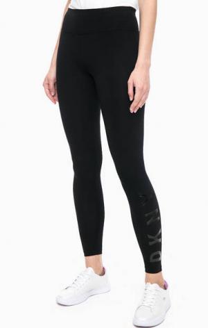 Черные хлопковые леггинсы DKNY. Цвет: черный
