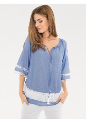 Блузка RICK CARDONA by Heine. Цвет: голубой/белый