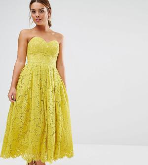 ASOS Petite Кружевное платье‑бандо миди с вырезом сердечком. Цвет: желтый