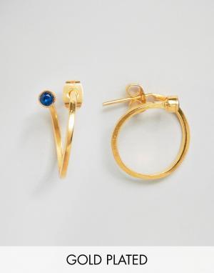 Ottoman Hands Серьги-кольца с камнем на конце. Цвет: золотой