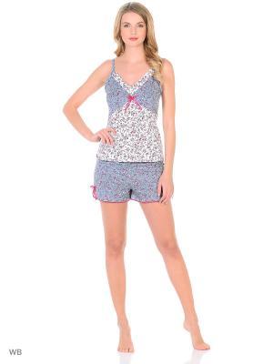 Пижама NAGOTEX. Цвет: серый, белый, малиновый