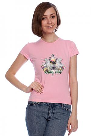 Футболка женская A-One Skull Box Pink. Цвет: розовый