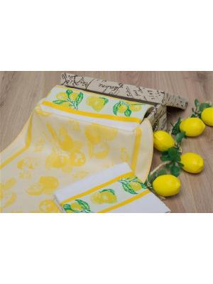 Набор кухонных полотенец ЛИМОНЫ цв. жёлтый 40х60 (3шт.) TOALLA. Цвет: желтый