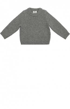 Шерстяной свитер с круглым вырезом Acne Studios. Цвет: серый