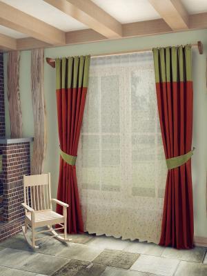 Комплект штор с тюлем SANPA HOME COLLECTION. Цвет: зеленый, терракотовый