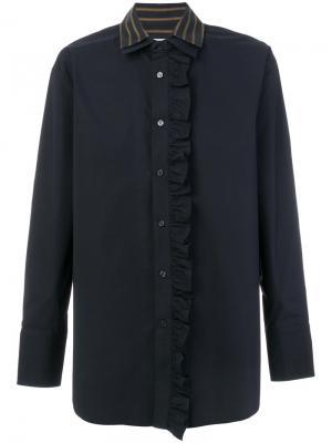 Рубашка с рюшами и двойным воротником Wooyoungmi. Цвет: синий