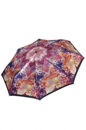 Складной зонт автомат с принтом Цветы Fabretti. Цвет: радужный